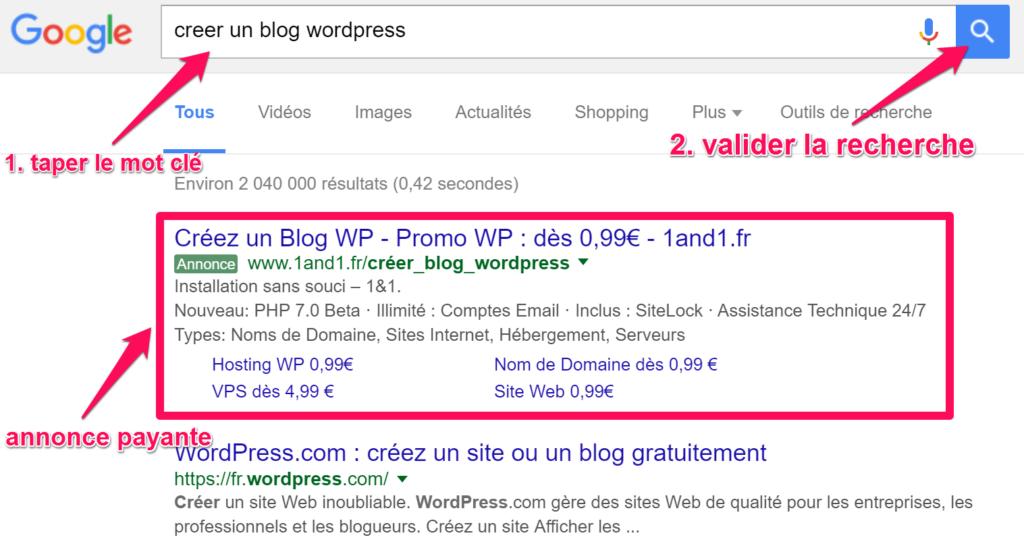 recherche mots clés google