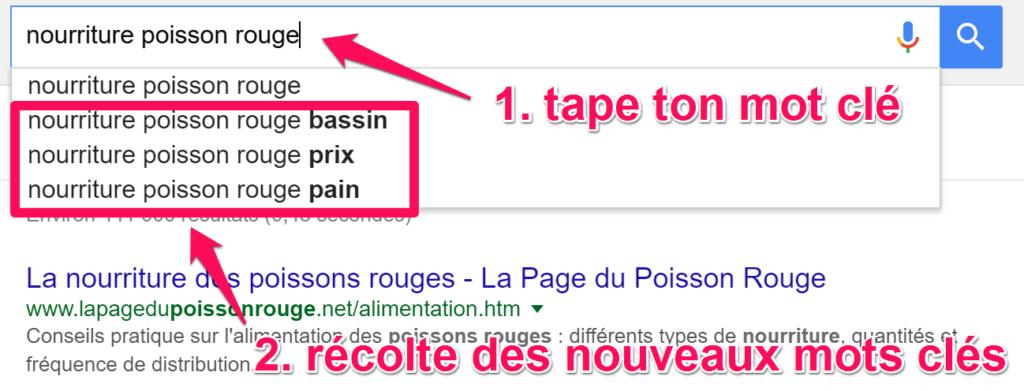 mots clés auto completion google