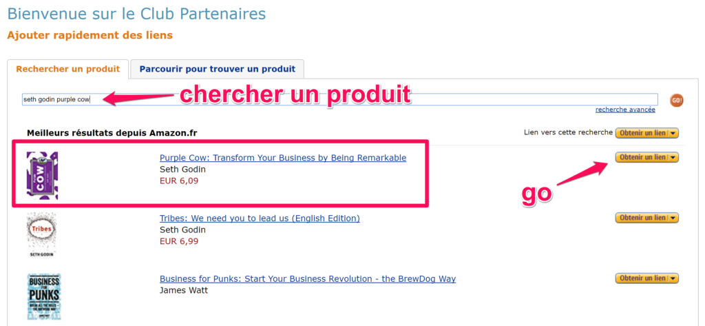 affiliation amazon trouver un produit
