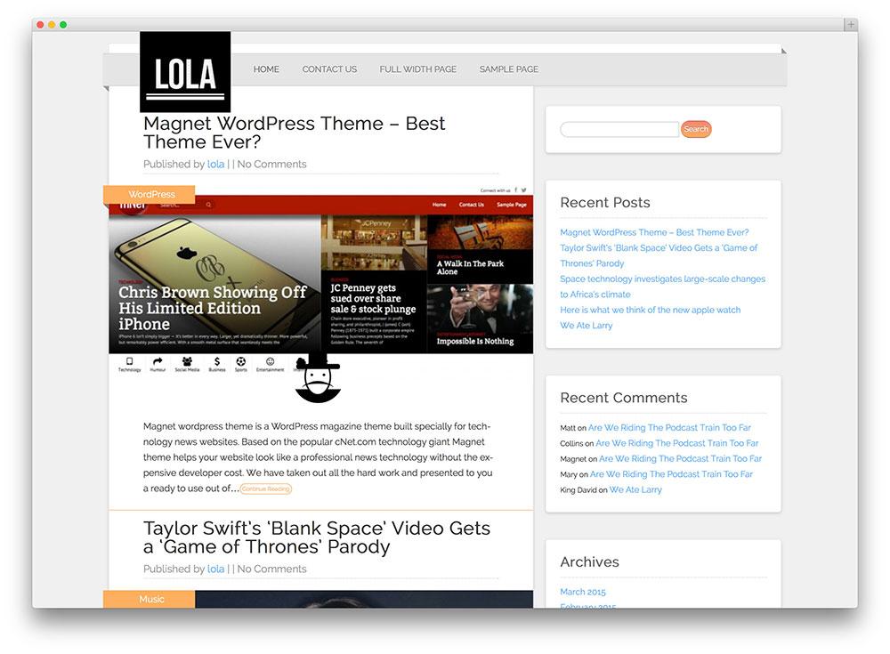 lola-simple-wordpress-blog-theme