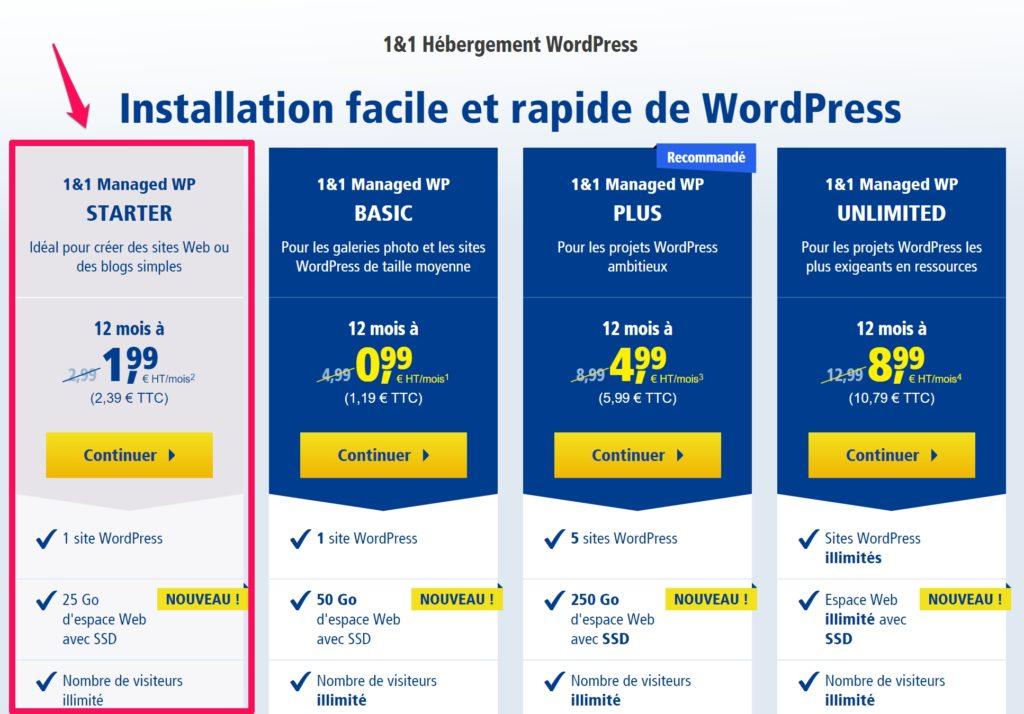 installer wordpress avec 1 and 1